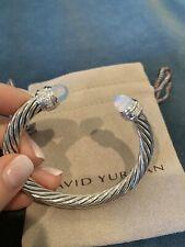David Yurman 7mm Bracelet Sterling Silver Diamond Moonstone Cable ClassicCuff