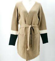 SPARKZ Wool Blend Colorblock Open Cardigan Sweater Beige Black Ivory XS S M L