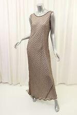PISARRO NIGHTS Taupe Beaded Stripe Silk Gown Dress 12