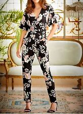 New Womens ladies gorgeous M&Co black Floral print Jumpsuit sz 14