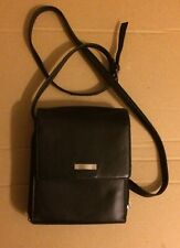 """Unbranded Black Leather Shoulder Bag, 22"""" Drop, 2 Zip Compartments, 6 Pockets"""