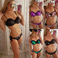 Women Bandage Push Up Sequin Bikini Set Swimsuit Summer Beach Bathing Swimwear