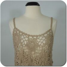 SAY WHAT? Women's/Juniors Taupe Crochet Cami Top, Handmade, size S (NEW)
