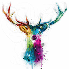 """Rainbow Stag wall art colorful printed on canvas 16"""" x  16'' solid frame"""