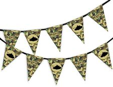 Happy Birthday Green Army Camouflage Military Tank Bunting Banner 15 Flags 10m