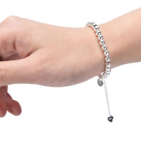 Fashion Women Silver Color Round Beads Charm Bangle Bracelet Jewelry Accessori3C