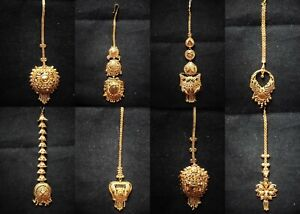 Gold Plated Indian Bridal Maang Tikka Chains Jewelry Sets Express Shipping