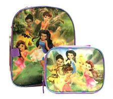 "DISNEY TINKERBELL FAIRIES kids Toddler Preschool 12"" BACKPACK + LUNCH BAG Purple"
