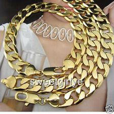 12mm Heavy 24k Yellow Gold Filled Necklace/Bracelet Set 138g Mens Curb Chain