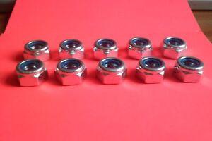 M10 x 1mm Metric Fine Nyloc Nut 10 pack