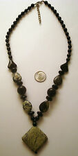 Beaded necklace semiprecious beads onyx, yellow turquoise, jasper beads fj042