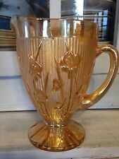 Lovely Jeannette Glass Iridescent Iris Herringbone Footed Pitcher