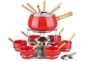 Eva - Stove Fondue (Set 23 Pieces) Steel Enamelled Red Polished