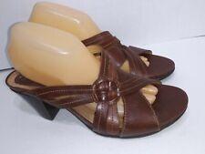 Clarks Artisan Brown Leather Cross Strap Open Toe Pumps Womens sIze 10 M