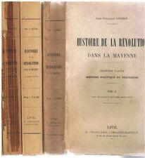 GAUGAIN - HISTOIRE DE LA REVOLUTION DANS LA MAYENNE 3 VOLUMES-LIVRE ANCIEN RARE