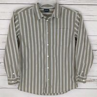 Cherokee Shirt Boys Large L Gray Striped Button Long Sleeve Collared 100% Cotton