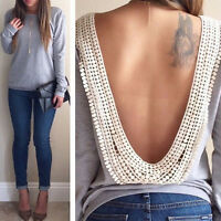 Fashion Womens Ladies Backless Long Sleeve Shirt Casual Blouse Tops Size 6-16