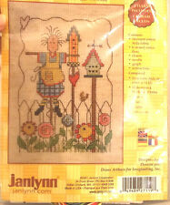 Janlynn's Garden Charms Counted Cross Stitch Kit Birdhouse Angel Fiddlers Aida