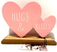 Rae Dunn💖HEARTS 💖 (HUGS & KISSES) Wood/Metal Home Decor
