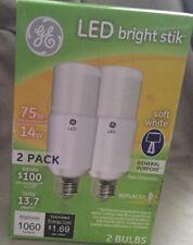 GE LED Bright Stik 2 pack 75w replacement 14 Watt Soft White Light Bulb/Free SHP