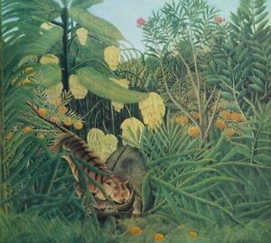 ROUSSEAU Henri : Tigre attaquant un buffle - LITHOGRAPHIE Originale signée 1976