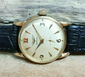 RARE VINTAGE LONGINES GOLD PLATED SUB SECOND AUTOMATIC GOLD DIAL MAN'S WATCH