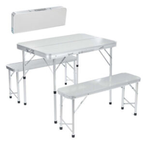 Aluminum Folding Camping Picnic Table With 2 Bench Chair Stool Seat Portable Set
