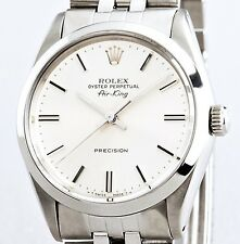 Rolex Air King Mens Stainless Steel Watch Jubilee Band Bracelet White Dial 5500