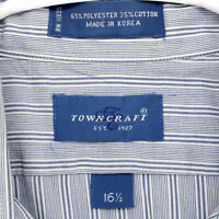 TOWNCRAFT JC PENNEY Vtg 90s Blue Striped S/S BUTTON SHIRT MEN'S M MEDIUM 16.5
