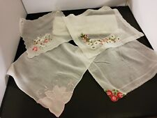 Vintage Handkerchiefs Lot of 4 Shades of Pink Springtime flowers