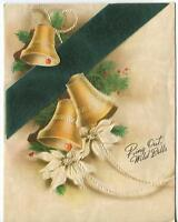 VINTAGE CHRISTMAS GOLD BELLS WHITE POINSETTIA FLOWER PINE TREE RED BERRIES CARD