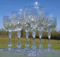 Service de 6 verres à vin en cristal artisanat de Lorraine, décor de draperie.
