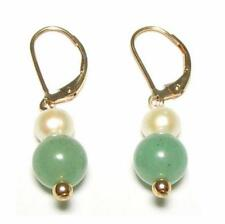 White Pearl & Natural Green Jade 14K Gold Filled Lever Back Earrings