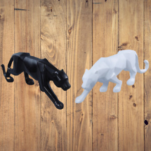 Panther Statue Animal Figurine Abstract Geometric Style Resin Leopard Sculpture