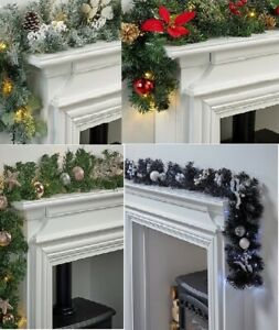 Christmas Pre-Lit 6Ft Frosted/Black&Silver/RoseGold/Poinsettia Led Garland Decor