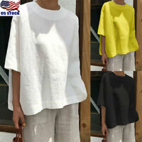 Women Short Sleeve Cotton Linen Loose Baggy Tops Shirts Ladies Summer Blouse Tee