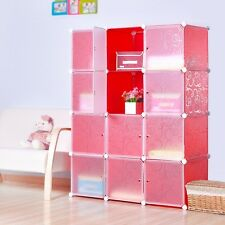 DIY Home Storage Cube Cabinet for Clothes Shoes, Bags, Office, Red (12) Cubitbox