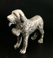 Large Pewter Saint Bernard Dog Shoe Detailed Silver Metal Figurine Statue