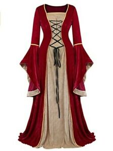 Frawirshau Red Velvet Renaissance Medieval Lace Up Long Dress Ball Gown - Small