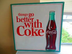 Coca-Cola Enamelware Sign Retro Reproduction Things Go Better With Coke Green