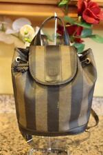 FENDI Vintage Striped Small Drawstring Leather Backpack ([u120