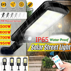 Solar Street Wall COB Light PIR Motion Sensor LED Lamp Remote Control Waterproof