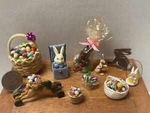 Vintage Artisan Easter Decor Baskets Toys Rabbits Dollhouse Miniature 1:12