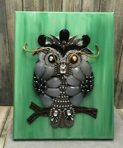 Costume Jewelry Art Owl Bling Nature OOAK Handmade Artwork 11x14 Signed