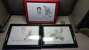 Original Hand Drawings, Set of 3 Hockey Figures,Fedorov, Osgood, Yzerman
