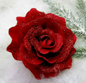 10cm  CLIP ON CHRISTMAS TREE ROSE FLOWER DECORATION ( 4 inch) RED  SPARKLY