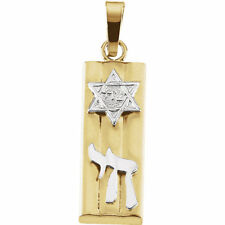 Mezuzah Pendant In 14K Yellow/ White Gold