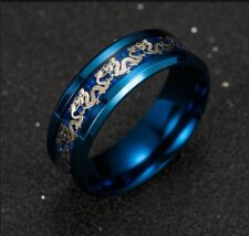 TITANIUM RING BLUE WITH CHINESE DRAGON BRAND NEW IN BOX