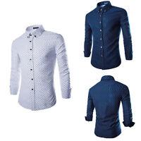 Luxury Men's Shirt Tops Slim Fit Shirt Long Sleeve Shirts Casual Dress