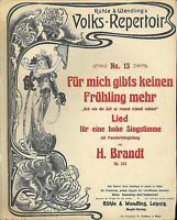 """"""" Für mich gibts keinen Frühling mehr """" H.. Brandt, übergroße, alte Noten"""